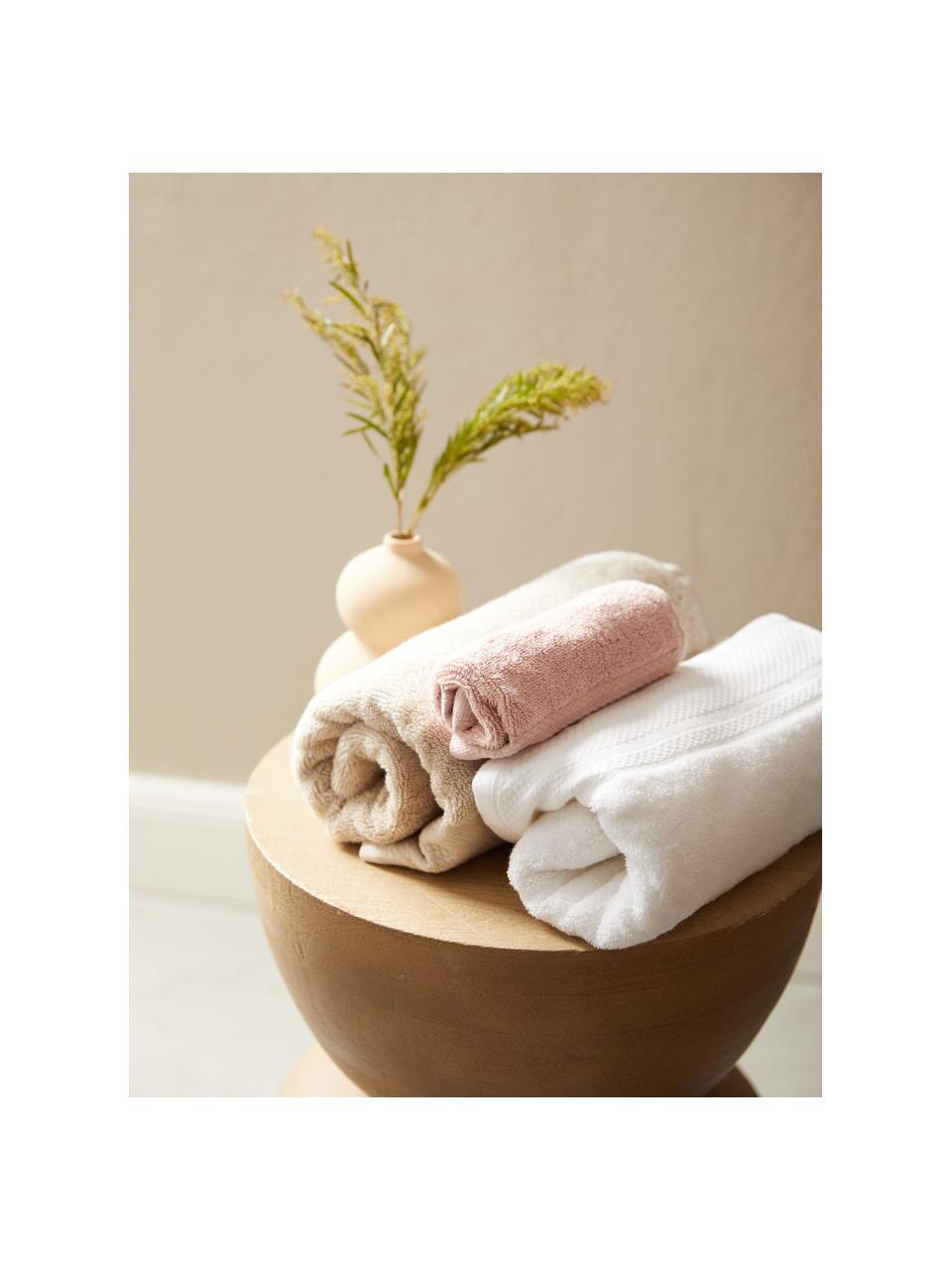 Lot de serviettes de bain avec bordure classique Premium, 3élém., Beige