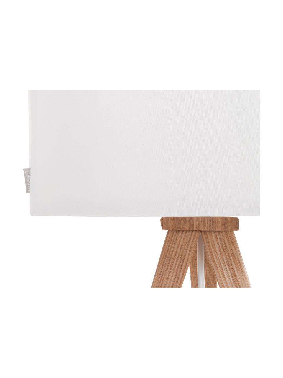 Lampadaire sur trépied en bois Tripod, Blanc, placage en chêne