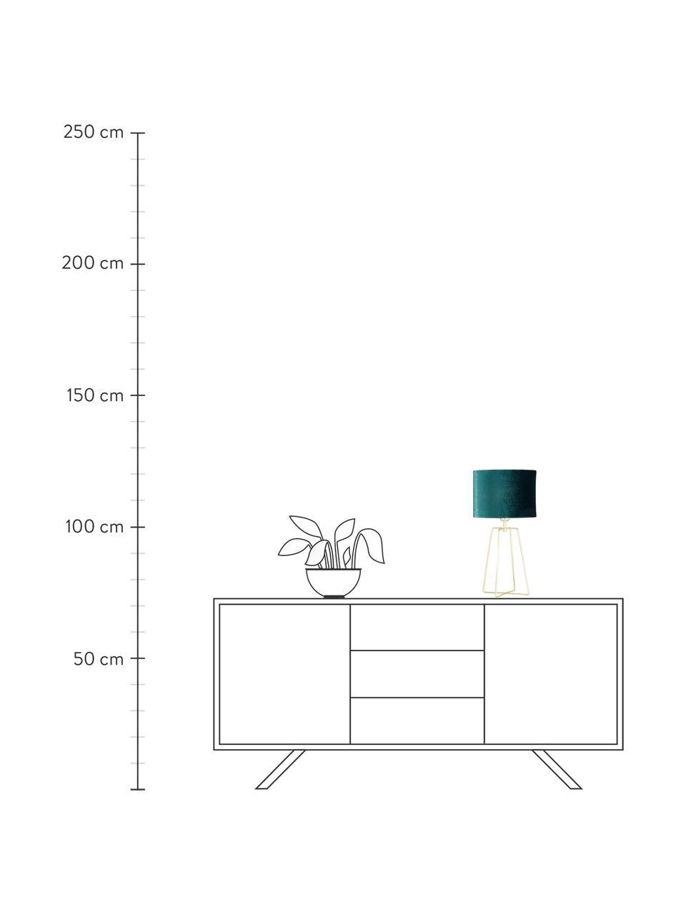 Samt-Tischlampe Karolina in Petrol, Lampenschirm: Samt, Lampenfuß: Metall, vermessingt, Dunkelgrün Messing, glänzend Transparent, Ø 25 x H 49 cm
