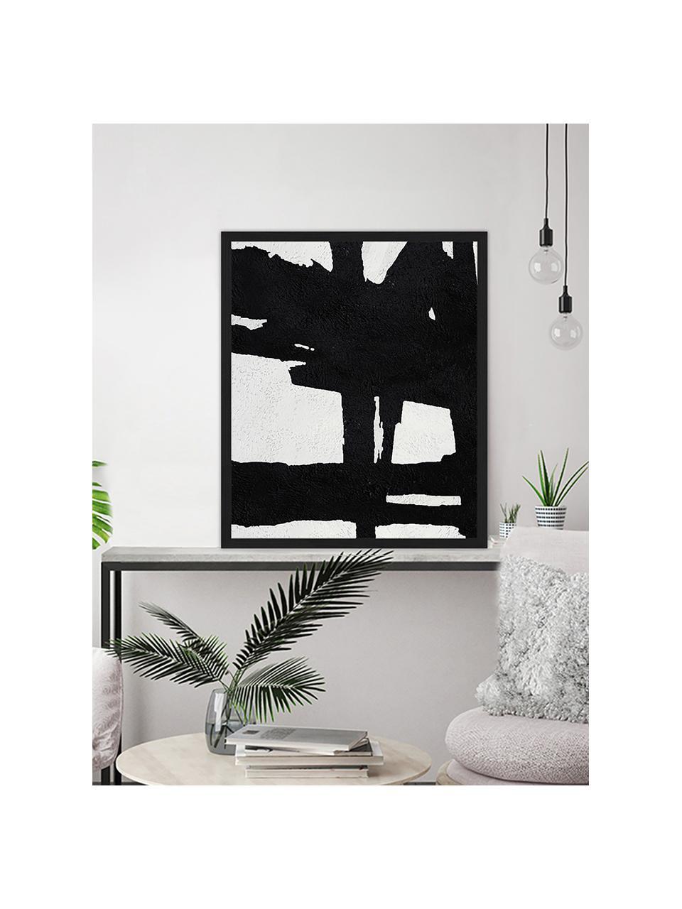 Gerahmter Digitaldruck Abstract Black, Bild: Digitaldruck auf Papier, , Rahmen: Holz, lackiert, Front: Plexiglas, Schwarz, Weiß, 53 x 63 cm
