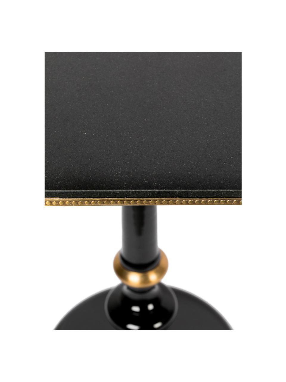 KleinerEsstisch Own The Glow mit Granitstein-Tischplatte, Tischplatte: Granitstein, Schwarz, 65 x 76 cm