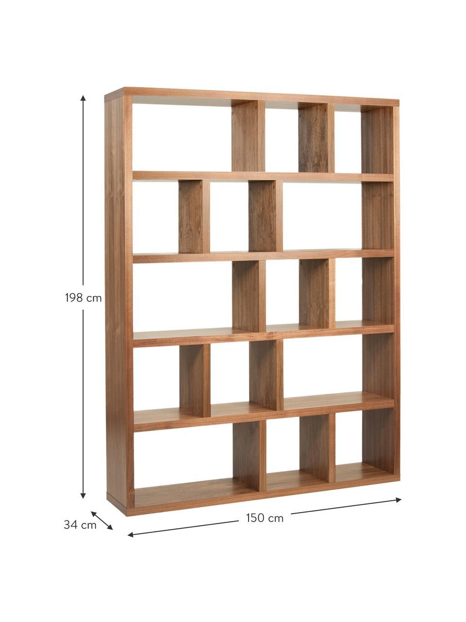 Duży regał na książki z forniru z drewna orzechowego  Portlyn, Drewno orzecha włoskiego, S 150 x W 198 cm