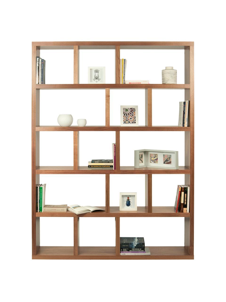 Groot boekenrek Portlyn met walnoothoutfineer, Walnootkleurig, 150 x 198 cm