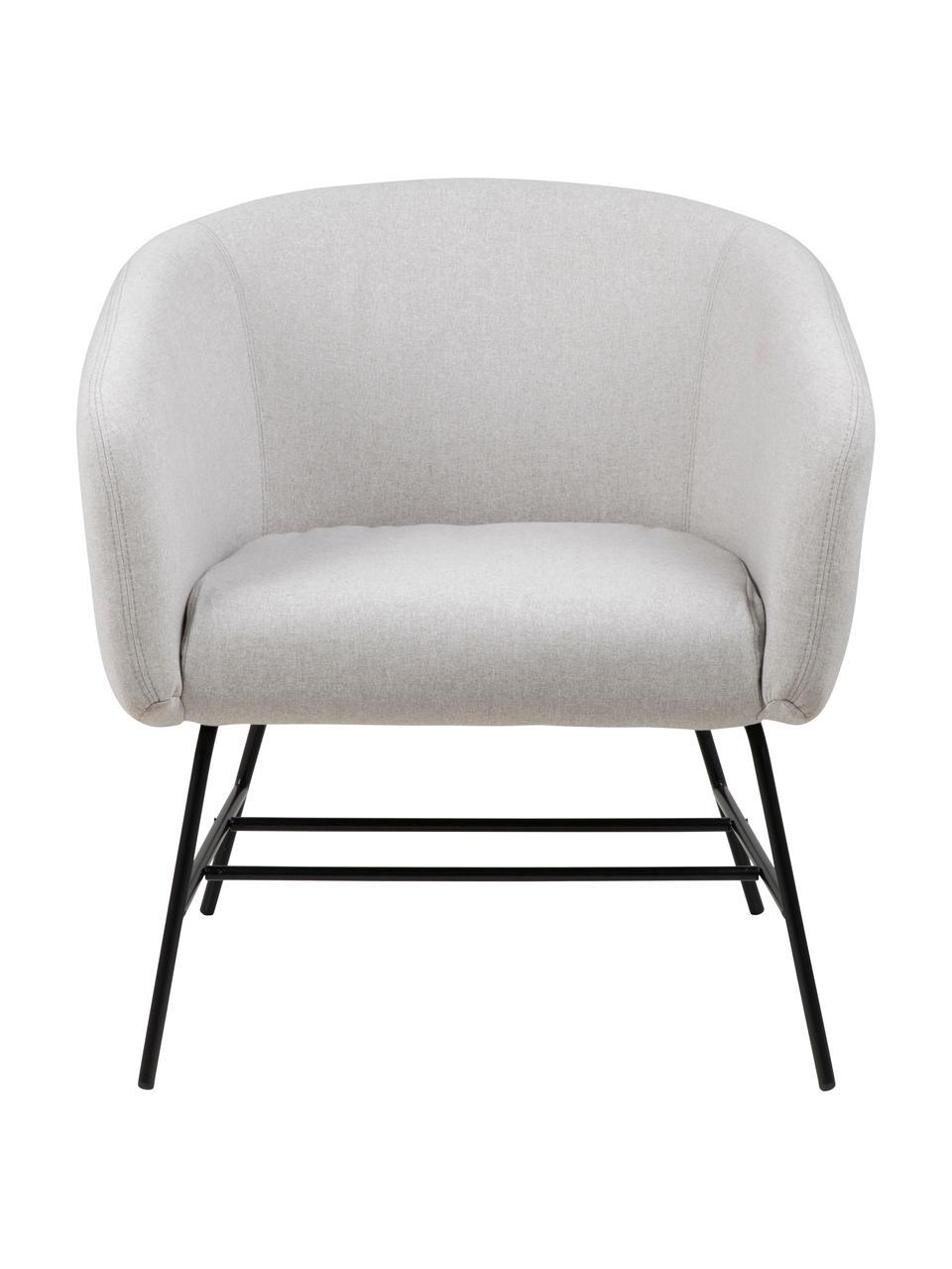Fotel koktajlowy Ramsey, Tapicerka: poliester Dzięki tkaninie, Nogi: metal lakierowany, Jasny szary, S 72 x G 67 cm
