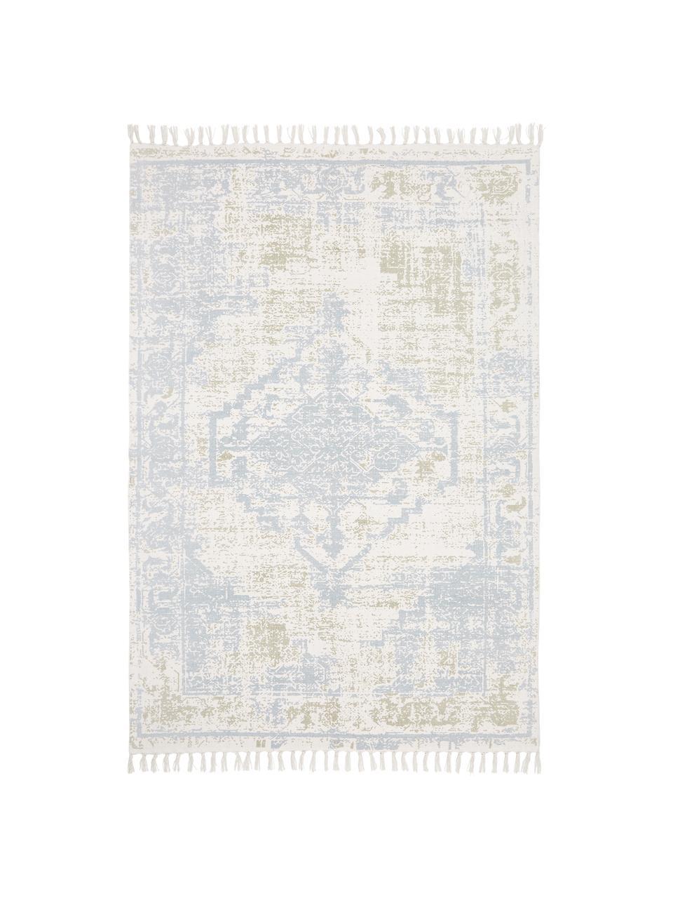 Handgeweven katoenen vloerkleed Jasmine in beige/blauw in vintage stijl, Beige, blauw, B 50 x L 80 cm (maat XXS)
