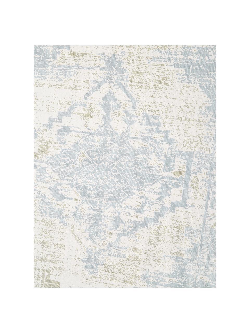 Tapis fin en coton beige-bleu vintage tissé main Jasmine, Beige, bleu