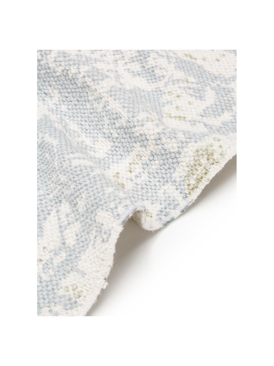 Handgewebter Baumwollteppich Jasmine in Beige/Blau im Vintage-Style, Beige, Blau, B 50 x L 80 cm (Größe XXS)
