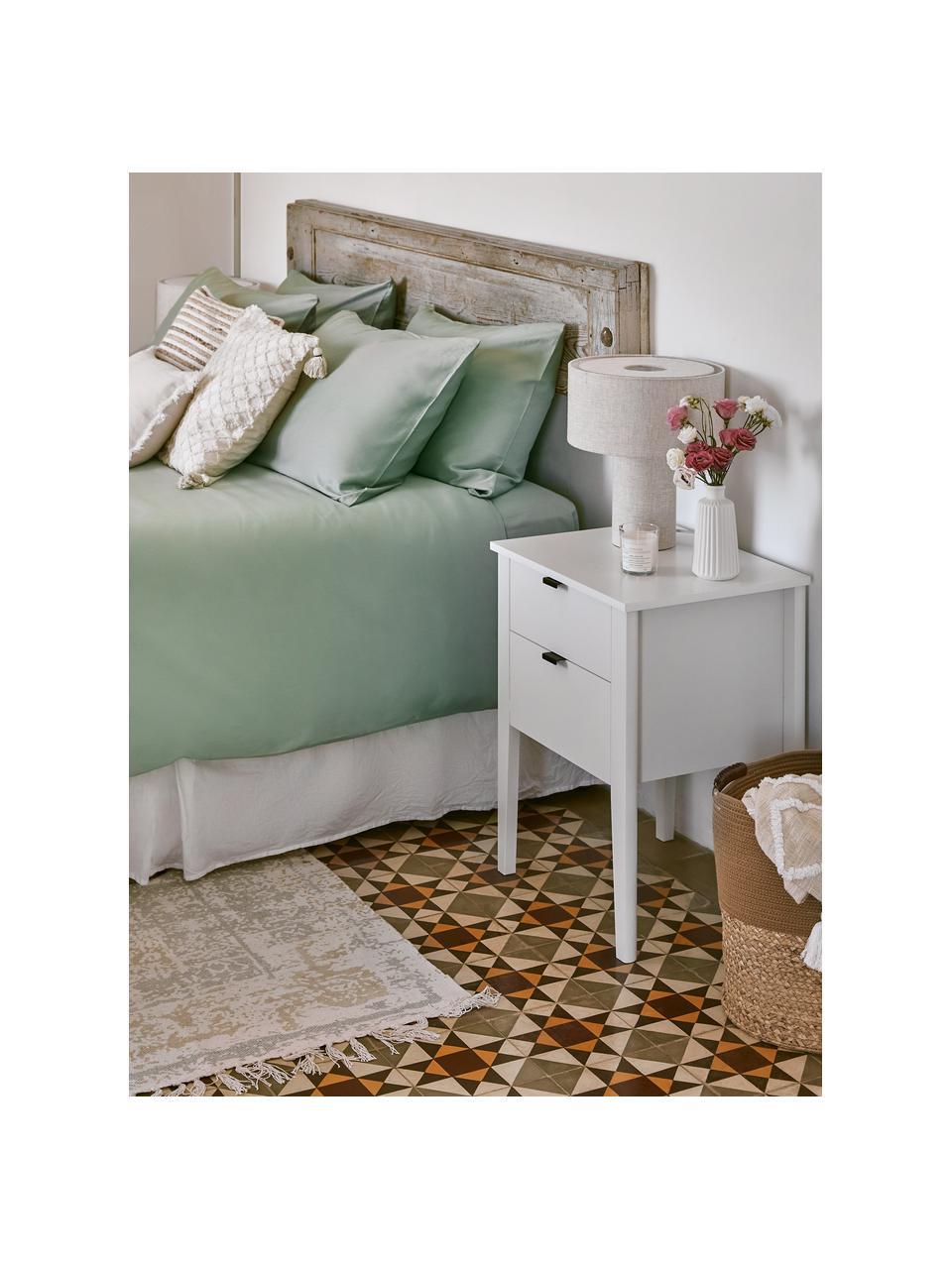 Handgeweven katoenen vloerkleed Jasmine in beige/blauw in vintage stijl, Beige, blauw, B 70 x L 140 cm (maat XS)