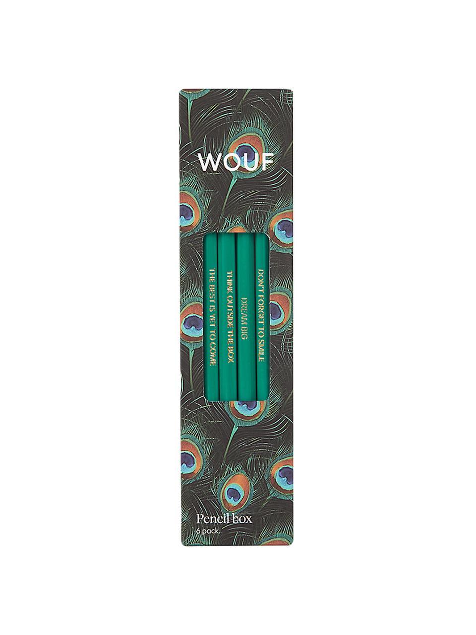 Komplet ołówków Peacock, 6 elem., Drewno naturalne, Wielobarwny, S 18 x W 5 cm