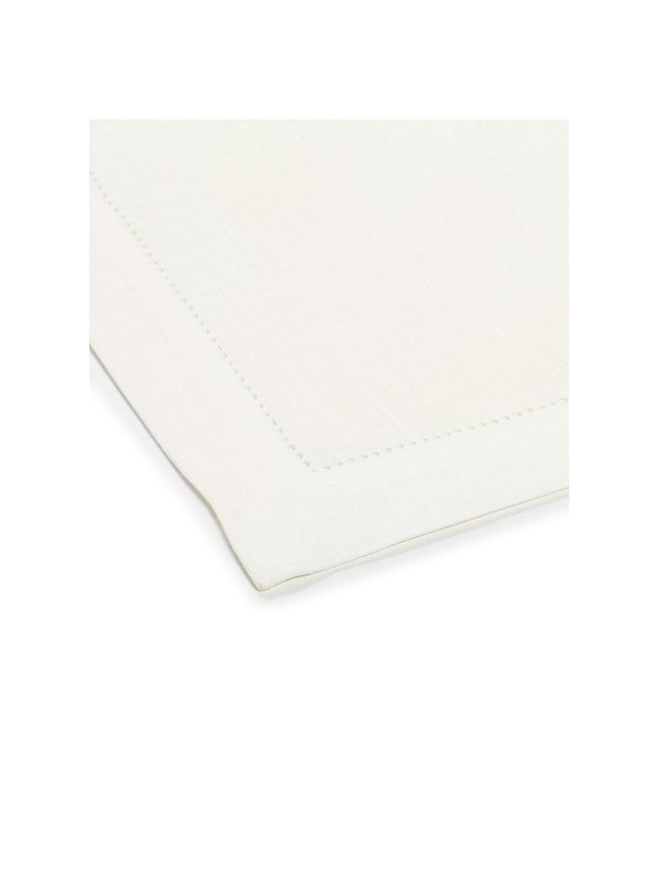 Sets de table pur lin avec ourlet Alanta, 6pièces, Blanc crème