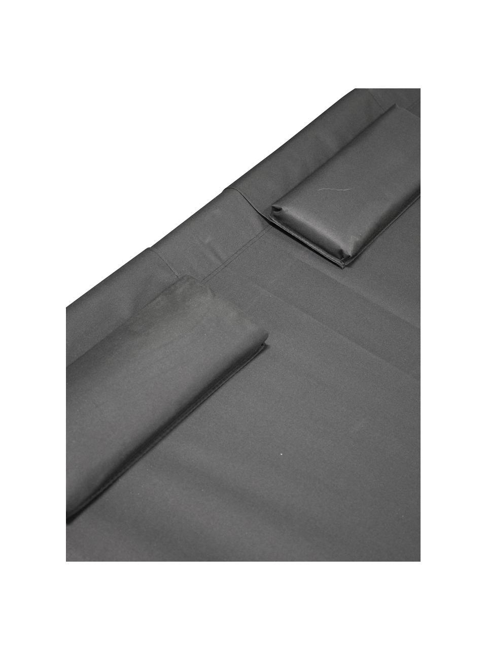 Lettino prendisole Gordo, Struttura: metallo verniciato a polv, Superficie: poliestere, Nero, Lung. 200 x Larg. 180 cm