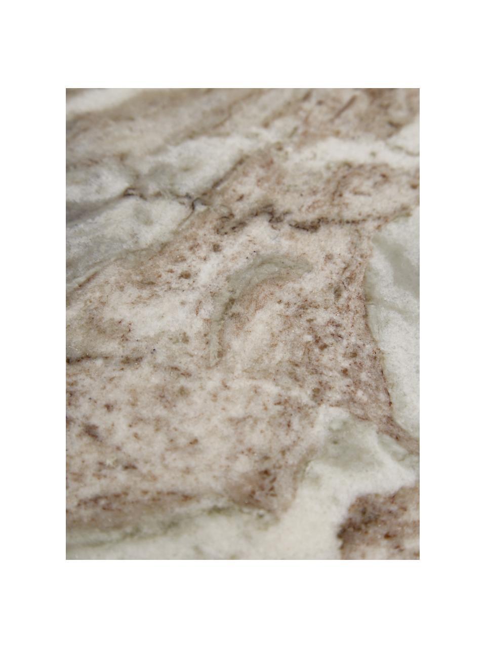 Tavolino con piano in marmo Beam, Struttura: metallo ottonato, Piano d'appoggio: marmo, Grigio, Ø 43 x Alt. 35 cm