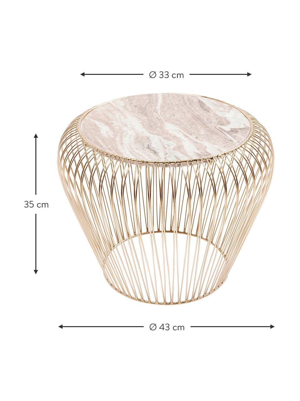 XS Beistelltisch Beam mit Marmor-Platte, Gestell: Metall, vermessingt, Tischplatte: Marmor, Grau, Ø 43 x H 35 cm