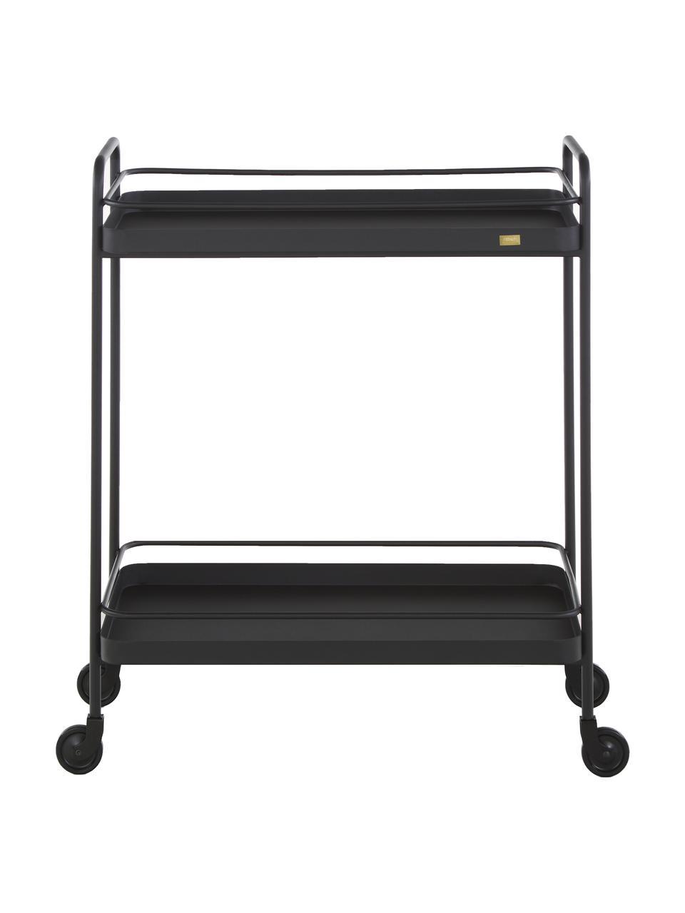 Zwarte bar cart Barclay, Ruw gelakt metaal, Zwart, 62 x 79 cm