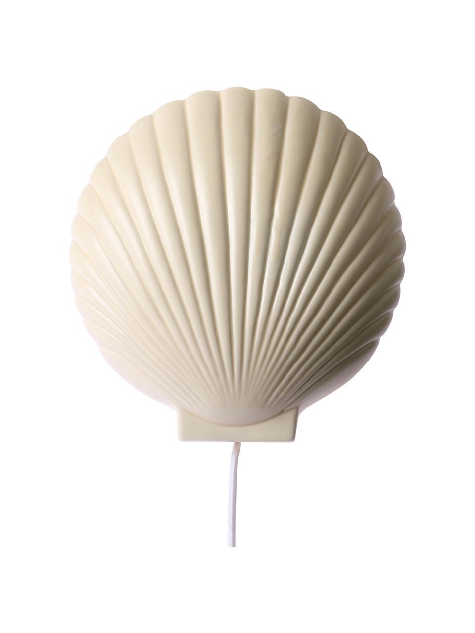 Wandleuchte Shell aus Steingut mit Stecker, Lampenschirm: Steingut, Pastellgelb, 19 x 21 cm