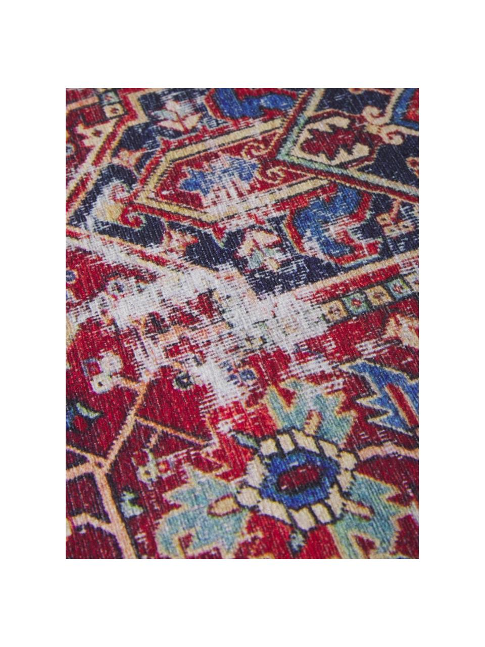 Tappeto vintage in ciniglia Paulo, Retro: 75%cotone poly, 25%poli, Rosso, blu, beige, Larg. 190 x Lung. 290 cm (taglia L)
