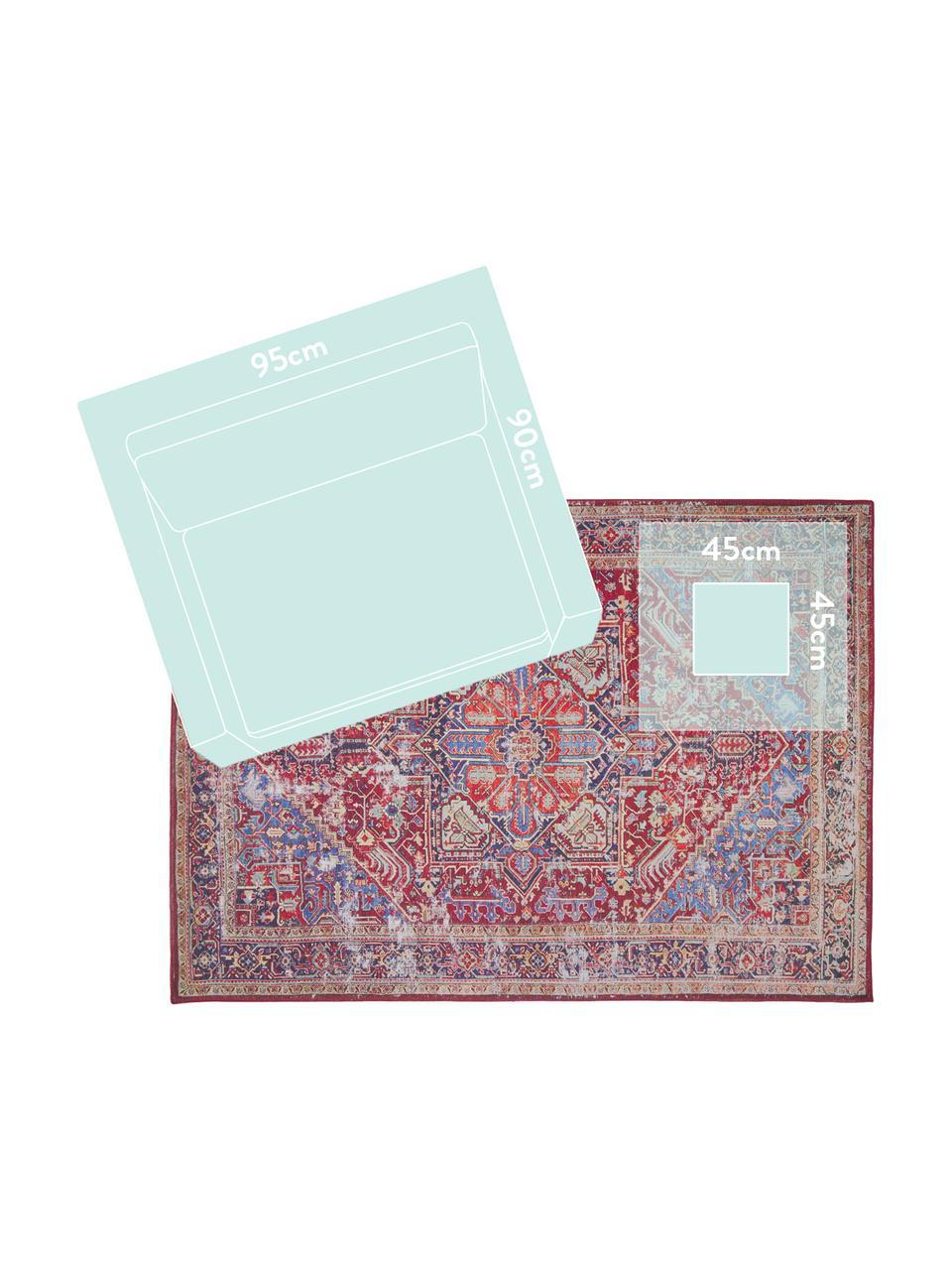 Dywan szenilowy w stylu vintage Paulo, Czerwony, niebieski, beżowy, S 190 x D 290 cm (Rozmiar L)