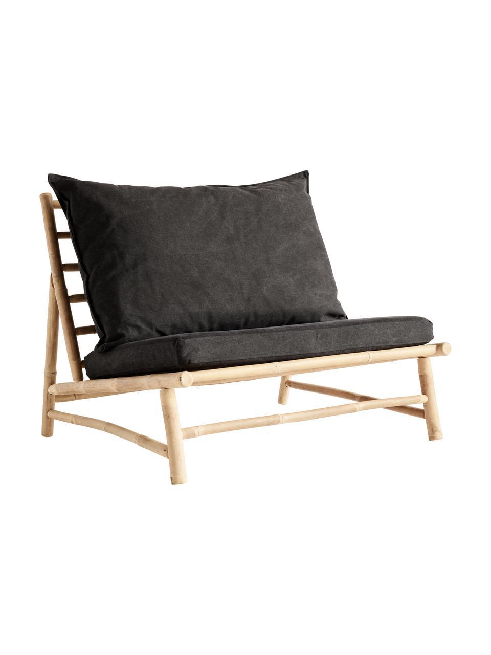 XL Bambus-Loungesessel Bamslow mit Polsterauflage, Gestell: Bambus, Bezug: 100% Baumwolle, Dunkelgrau, Braun, B 100 x T 87 cm