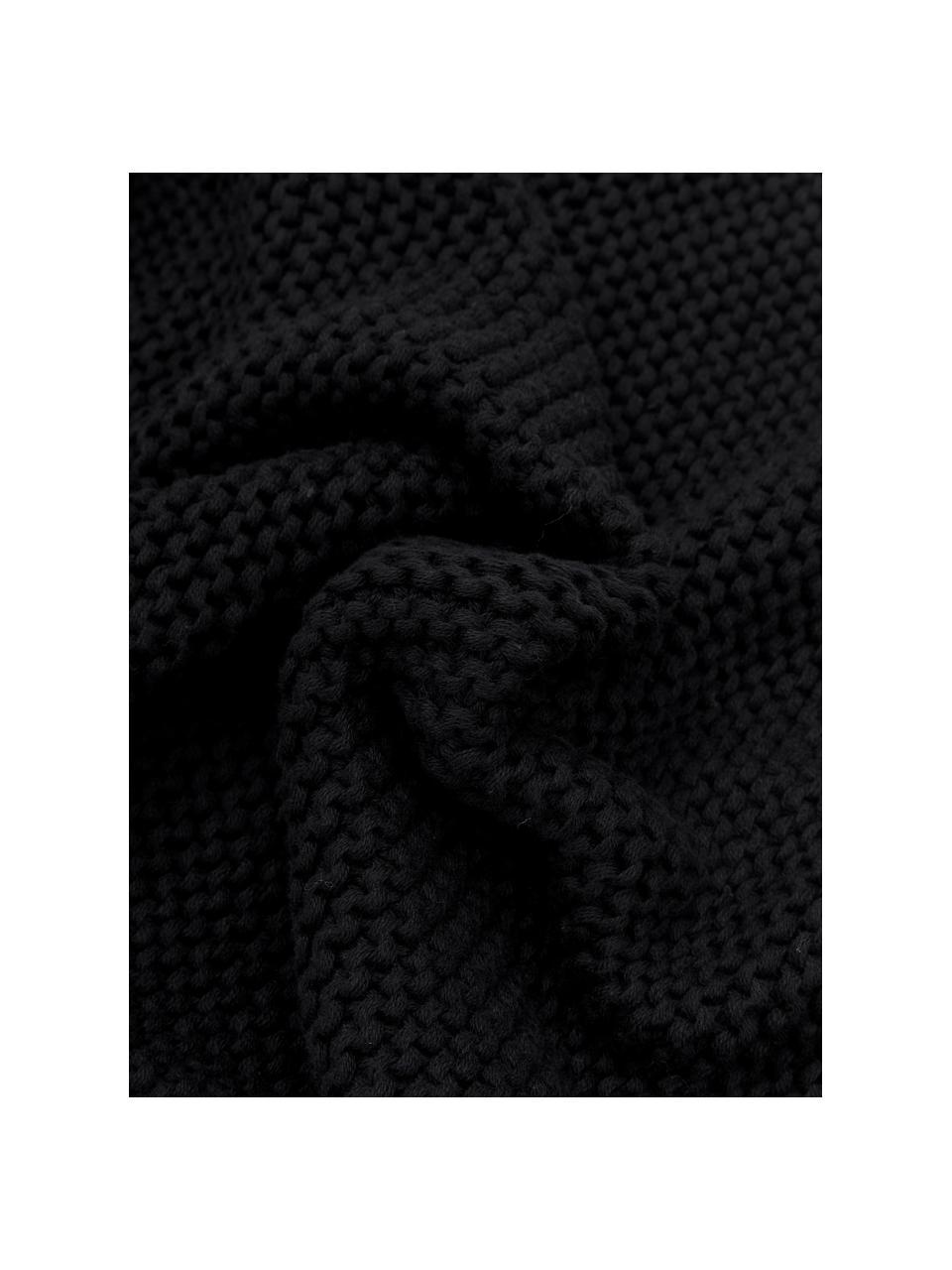 Strick-Kissenhülle Adalyn aus Bio-Baumwolle in Schwarz, 100% Bio-Baumwolle, GOTS-zertifiziert, Schwarz, 50 x 50 cm