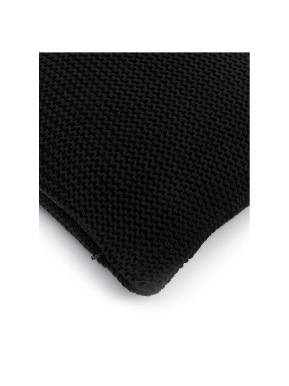 Gebreide kussenhoes Adalyn van biokatoen in zwart, 100% biokatoen, GOTS-gecertificeerd, Zwart, 50 x 50 cm