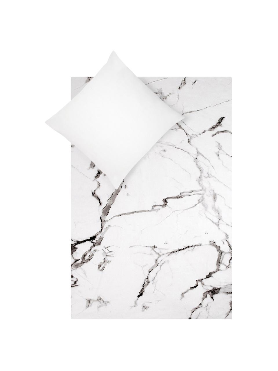 Povlečení z bavlněného perkálu smramorovaným vzorem Malin, Přední strana: mramorový vzor, šedá Zadní strana: světle šedá, monochromatická