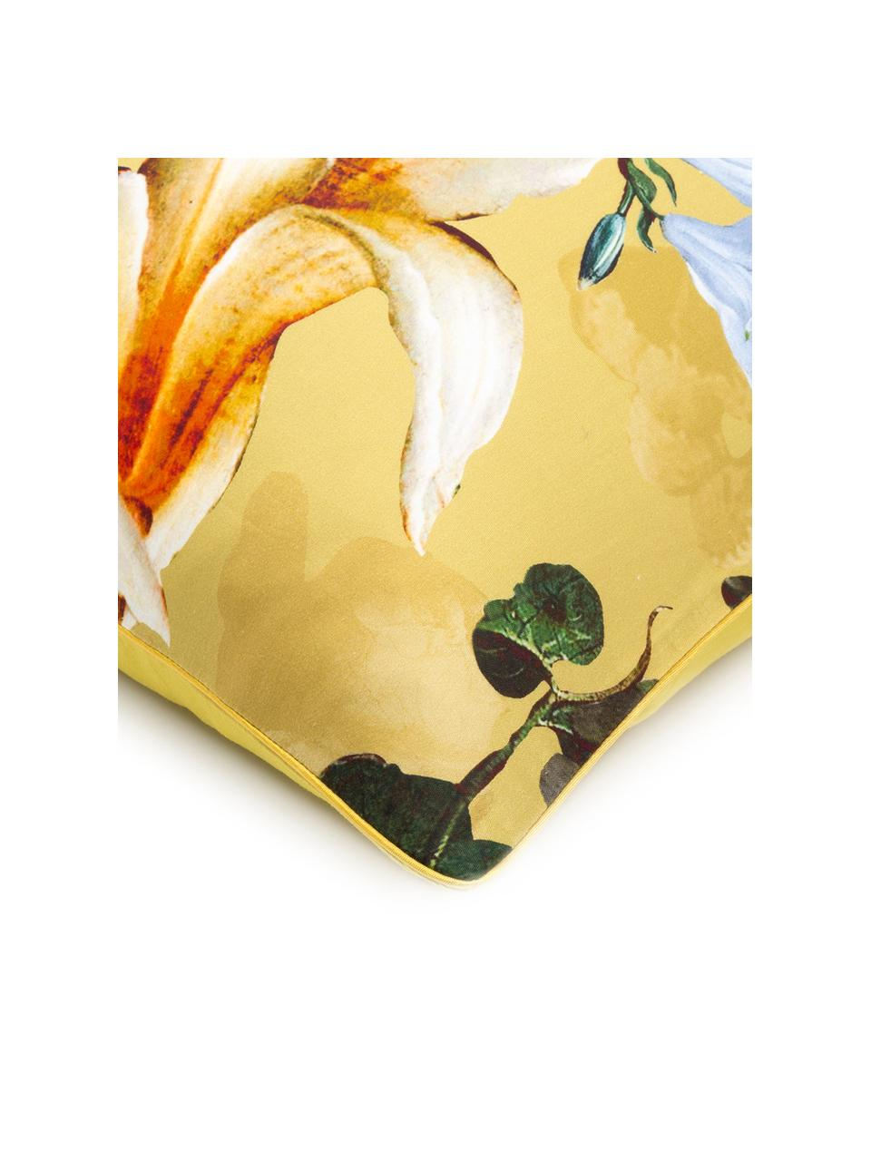 Katoenen dekbedovertrek Fleur, Goudgeel, 200 x 220 cm