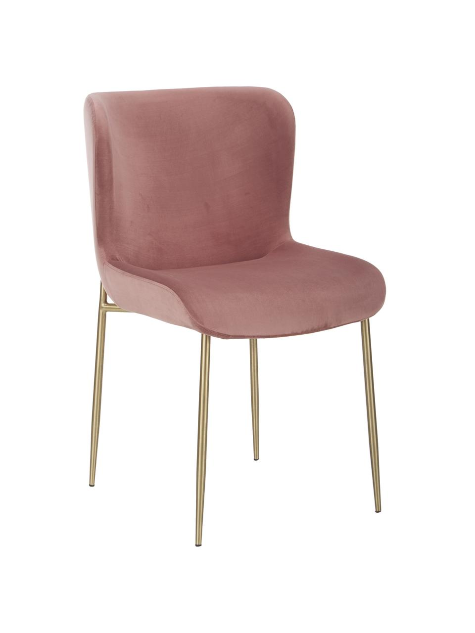 Chaise velours rembourrée Tess, Velours vieux rose, pieds or