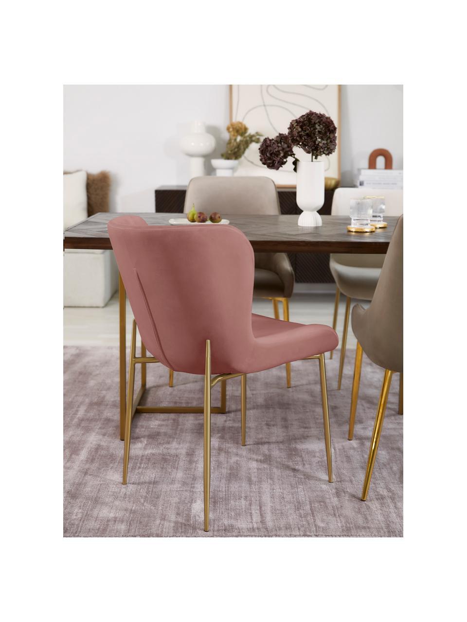 Sedia imbottita in velluto rosa cipria Tess, Rivestimento: velluto (poliestere) Con , Gambe: metallo rivestito, Velluto rosa cipria, dorato, Larg. 49 x Prof. 64 cm