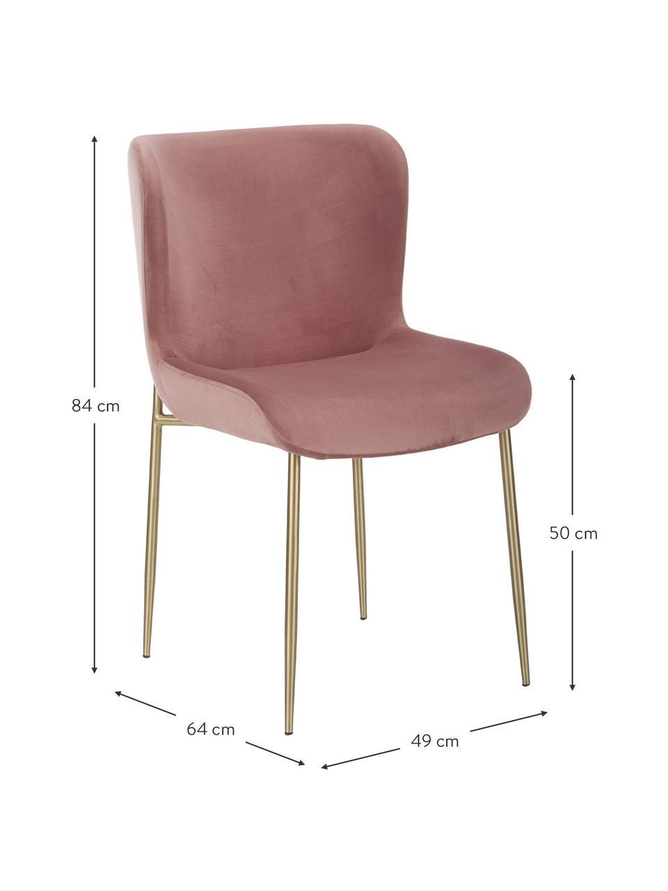 Samt-Polsterstuhl Tess in Altrosa, Bezug: Samt (Polyester) Der hoch, Beine: Metall, pulverbeschichtet, Samt Altrosa, Gold, B 49 x T 64 cm
