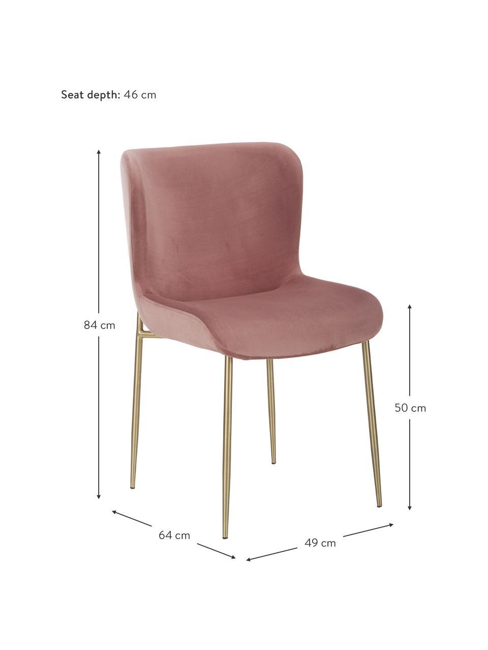 Krzesło tapicerowane z aksamitu Tess, Tapicerka: aksamit (poliester) Dzięk, Nogi: metal malowany proszkowo, Aksamitny brudny różowy, złoty, S 49 x G 64 cm
