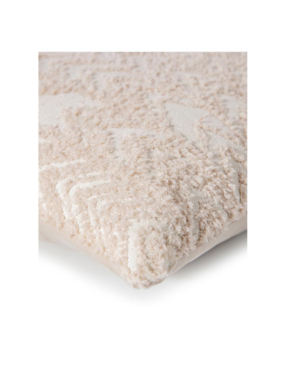 Federa arredo con motivo a rilievo Tilas, Retro: velluto di poliestere, Beige, crema, Larg. 40 x Lung. 40 cm