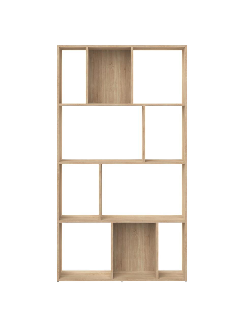 Braunes Standregal Toronto, Spannplatte, melaminbeschichtet, Eichenholz, 98 x 181 cm