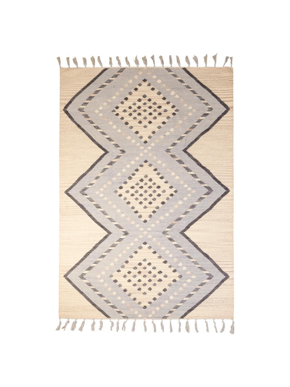 Wollen vloerkleed Jazmin met franjes en patroon, 80% wol, 20% katoen, Beige, grijsblauw, donkergrijs, B 160 x L 220 cm (maat M)