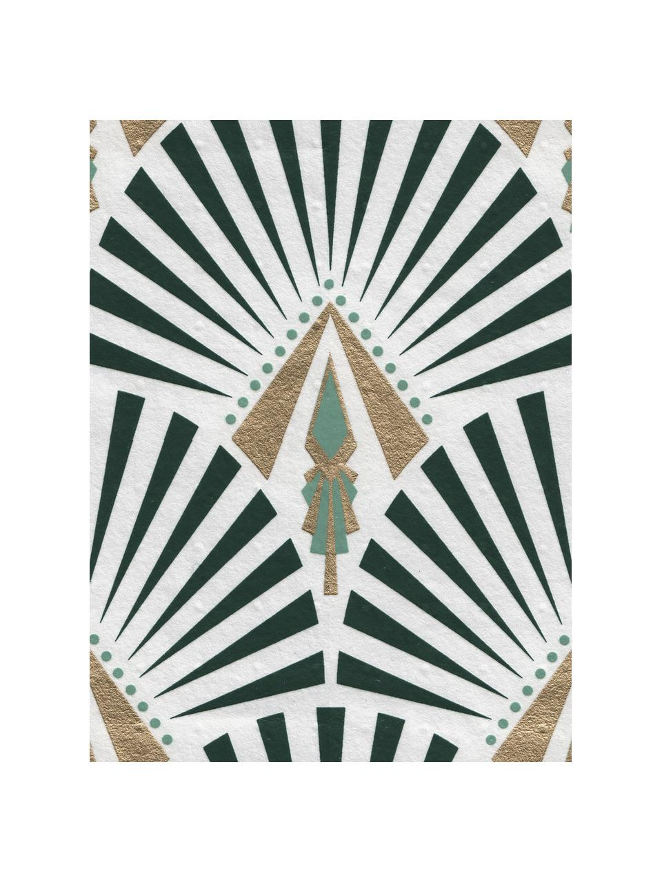 Carta da parati Luxus Geometric Art, Tessuto non tessuto, Bianco, verde, verde scuro, dorato, Larg. 52 x Alt. 1005 cm