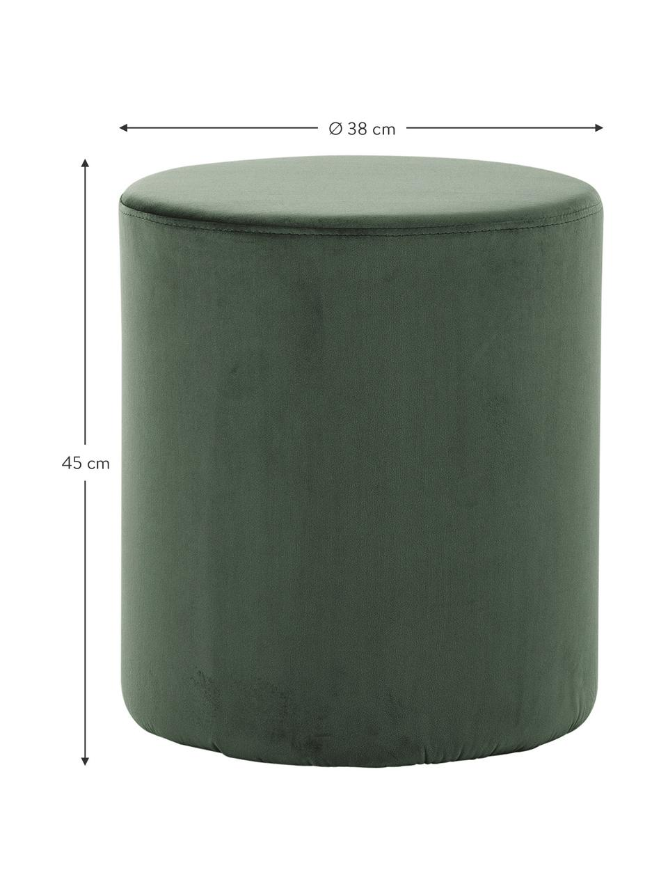 Samt-Hocker Daisy in Grün, Bezug: Samt (Polyester) Der hoch, Rahmen: Sperrholz, Samt Grün, Ø 38 x H 45 cm