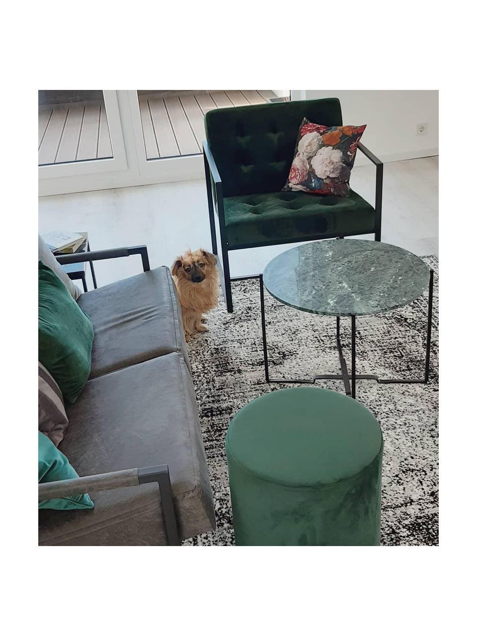 Puf z aksamitu Daisy, Tapicerka: aksamit (poliester) Dzięk, Zielony, Ø 38 x W 45 cm