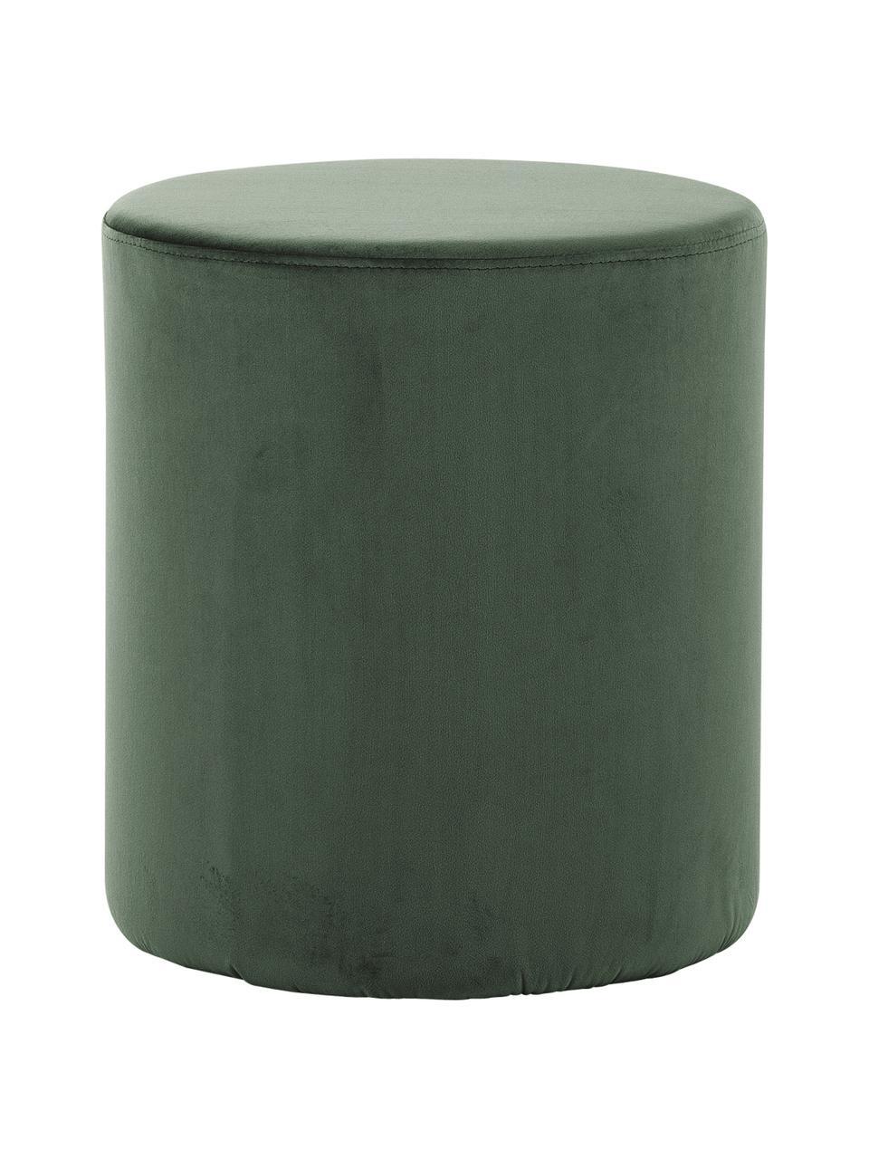 Fluwelen poef Daisy in groen, Bekleding: fluweel (polyester), Frame: multiplex, Groen, Ø 38 x H 45 cm