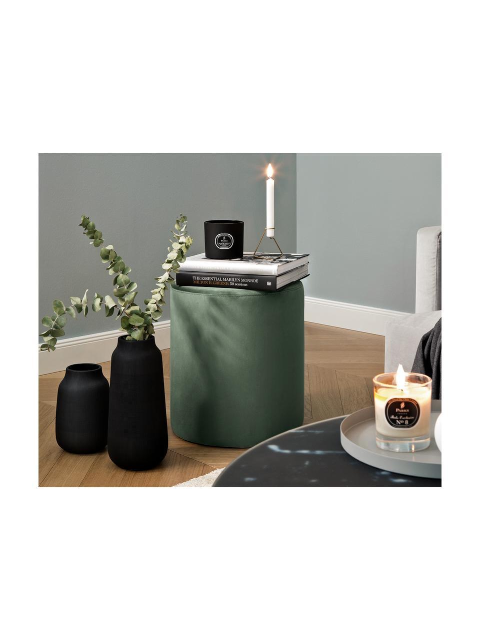 Pouf in velluto verde Daisy, Rivestimento: velluto (poliestere) Con , Struttura: compensato, Verde, Ø 38 x Alt. 45 cm