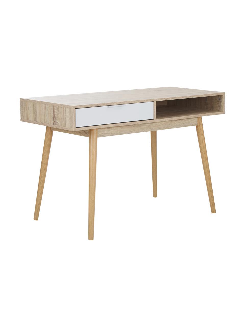 Bureau Samo in eikenhoutlook, Tafelblad: spaanplaat, in folie, Poten: eikenhout, Eikenhoutkleurig, wit, 120 x 79 cm