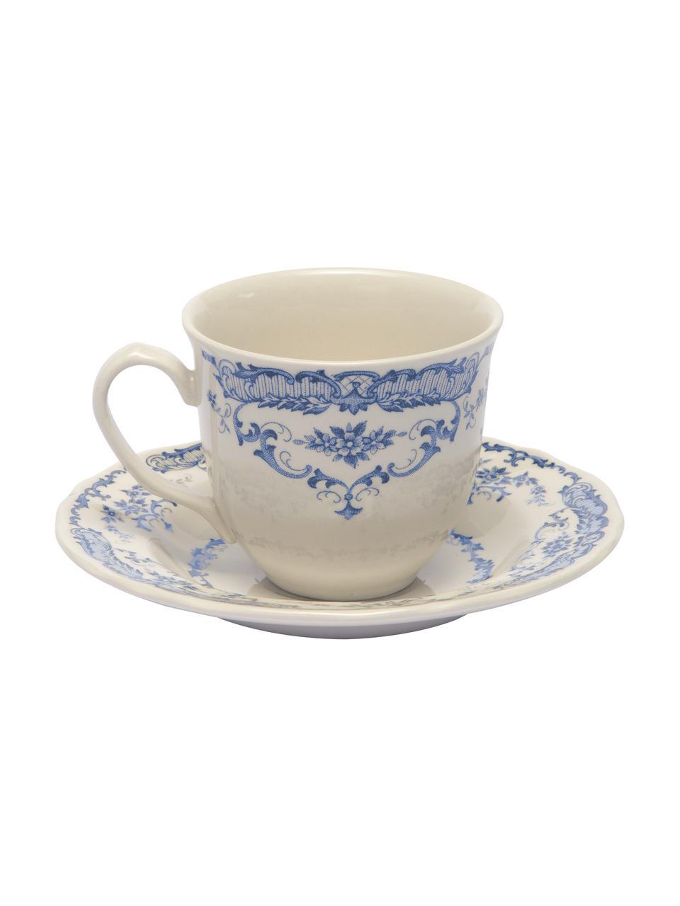 Tasses à thé avec sous-tasses vintage bleu Rose, 2pièces, Blanc, bleu