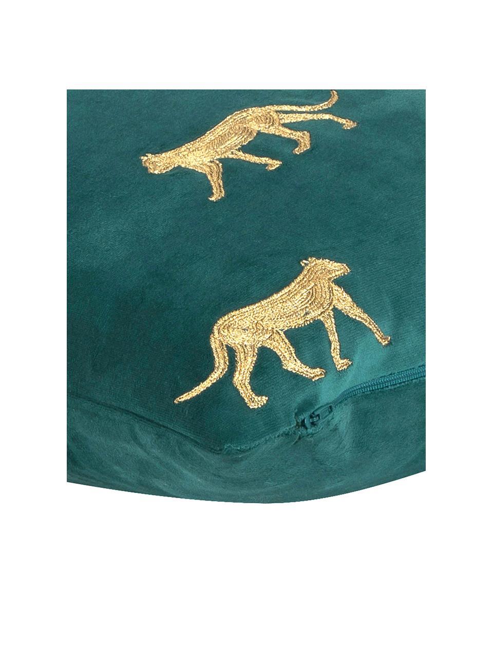 Haftowana poszewka na poduszkę z aksamitu Cheetah, Aksamit poliestrowy, Ciemnyzielony, odcienie złotego, S 40 x D 40 cm