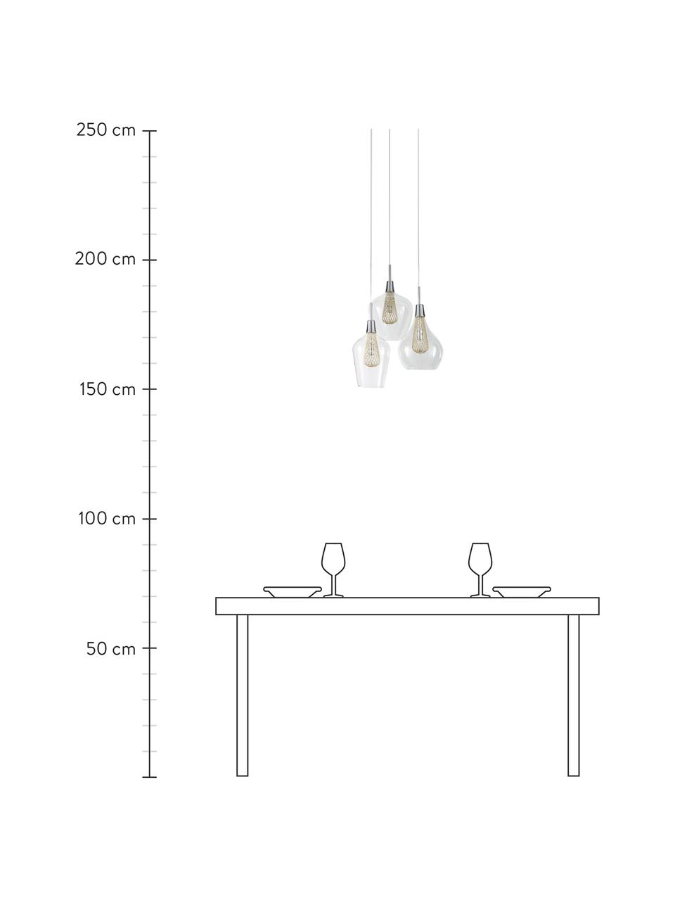 Lampa wisząca Filo, Transparentny, odcienie mosiądzu, Ø 36 cm