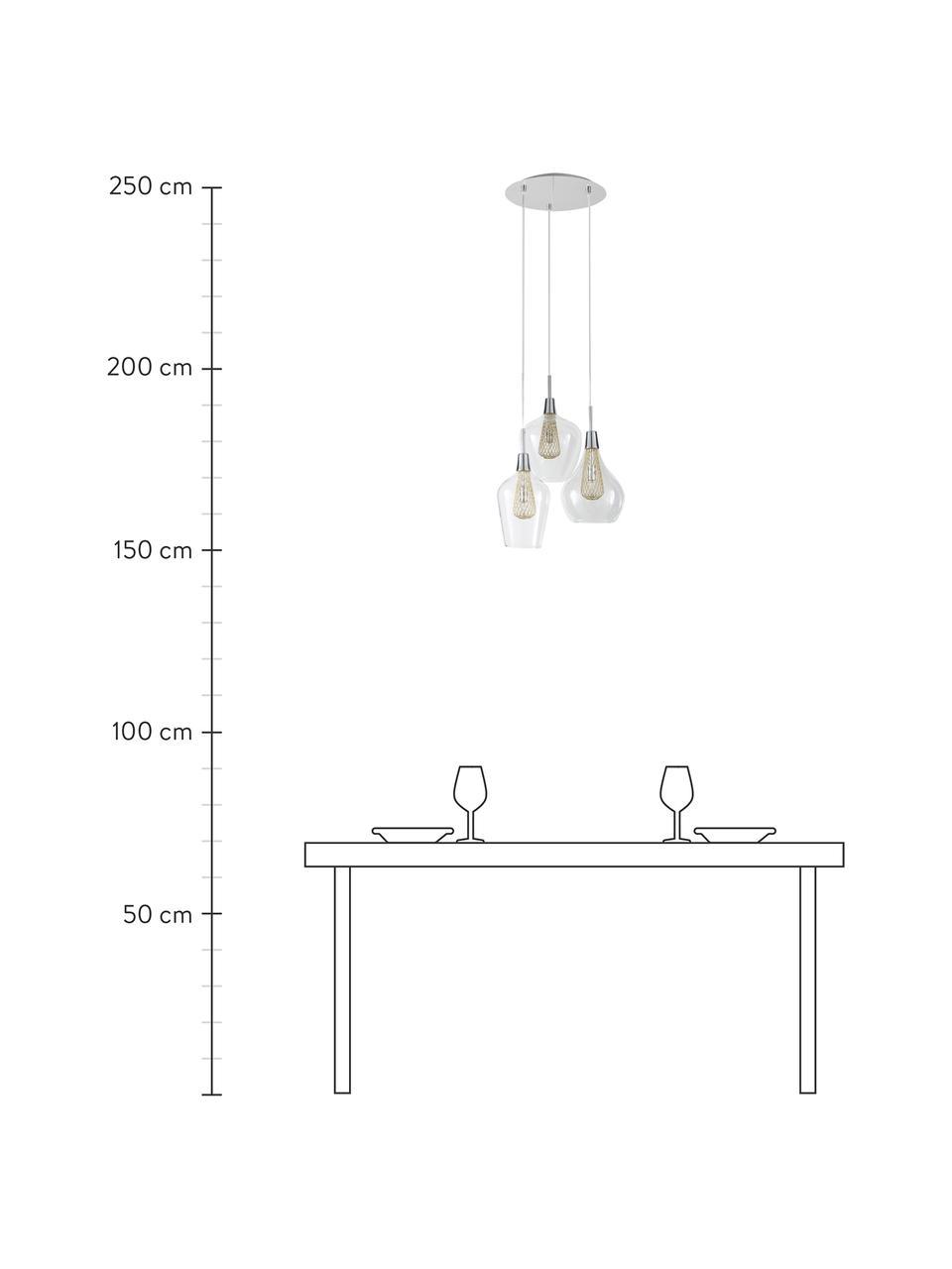 Lampada a sospensione in vetro Filo, Baldacchino: metallo cromato, Trasparente, ottonato, Ø 36 x Alt. 120 cm