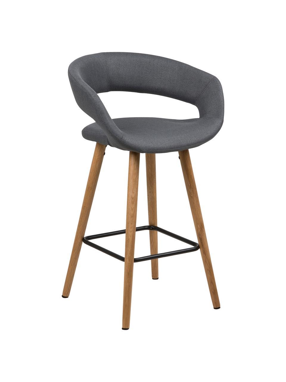Thekenstühle Grace in Grau, 2 Stück, Bezug: Polyester, Beine: Eichenholz, geölt, Bezug: Dunkelgrau Beine: Eiche Fußstütze: Schwarz, 56 x 87 cm