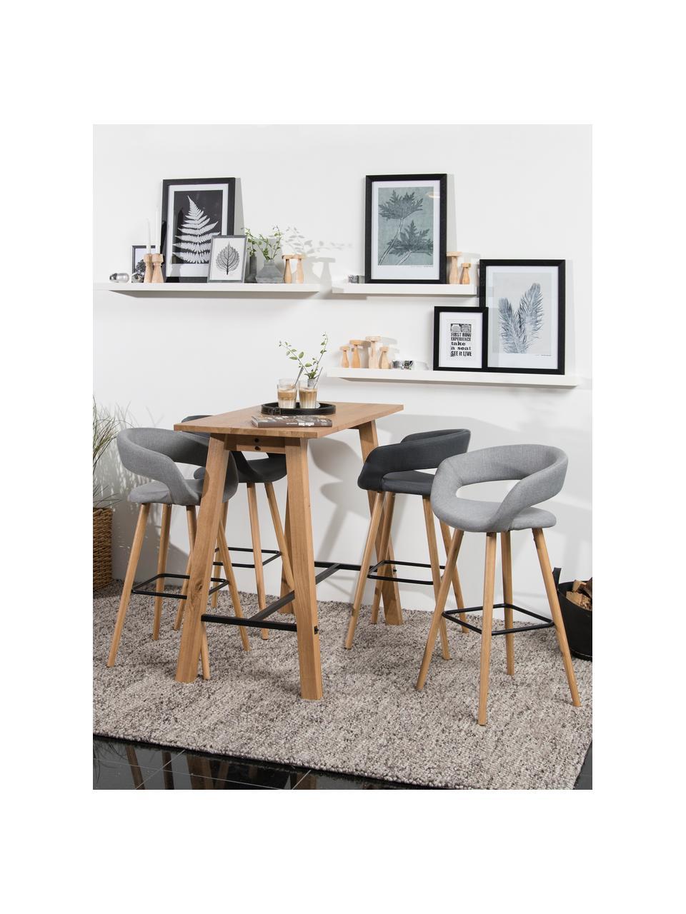 Barstoelen Grace, 2 stuks, Bekleding: polyester, Poten: geolied eikenhout, Bekleding: donkergrijs. Poten: eikenhoutkleurig. Voetsteun: zwart, 56 x 87 cm