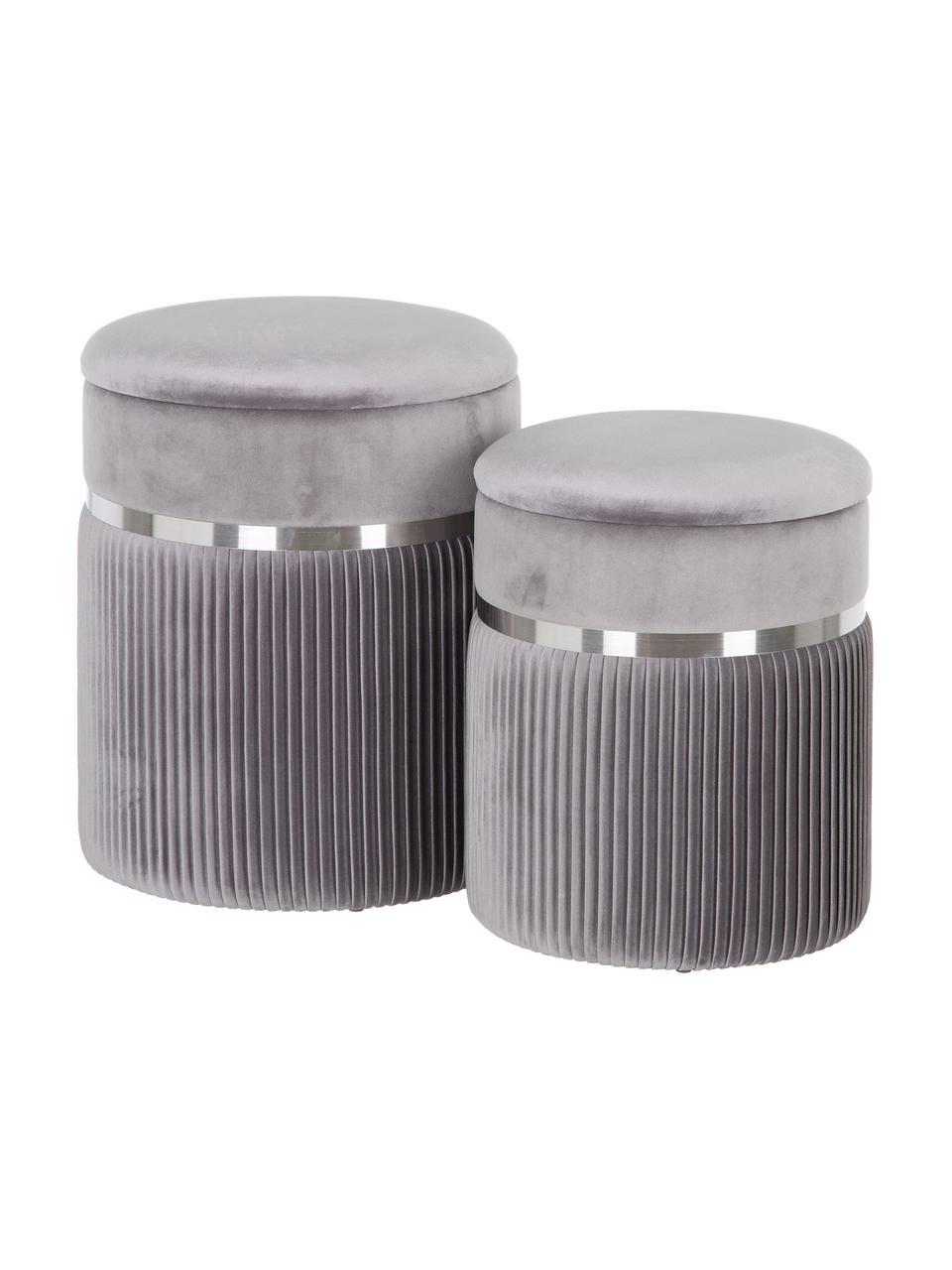 Komplet pufów z aksamitu z miejscem do przechowywania Chest, 2 elem., Tapicerka: poliester (aksamit), Szary, odcienie srebrnego, Komplet z różnymi rozmiarami