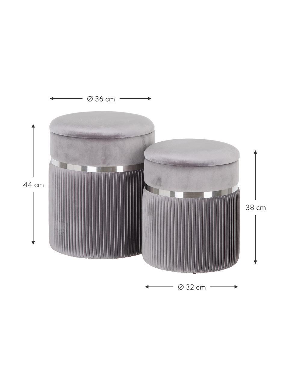 Samt-Hocker-Set Chest mit Stauraum, 2-tlg., Bezug: Polyester (Samt), Grau, Silberfarben, Sondergrößen