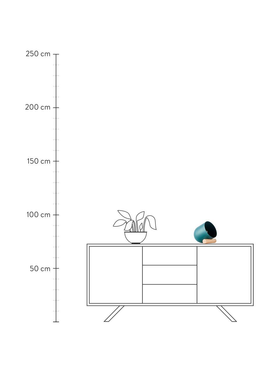 Kleine Tischlampe Leonia mit Holz-Dekor, Lampenschirm: Metall, beschichtet, Lampenfuß: Holz, Türkis, 16 x 21 cm