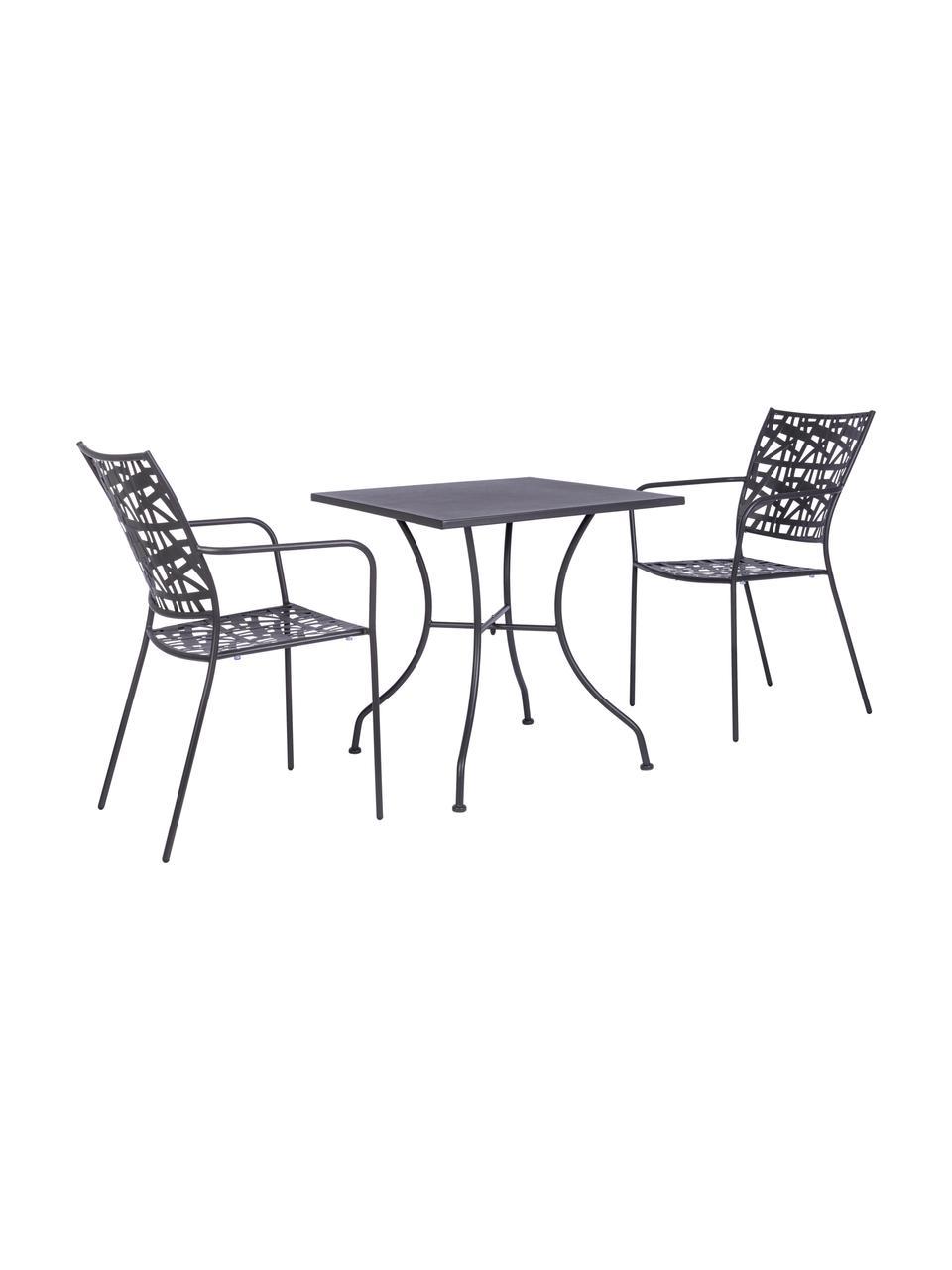 Sedia impilabile da giardino in metallo Kelsie, Metallo verniciato a polvere, Grigio, Larg. 55 x Prof. 54 cm