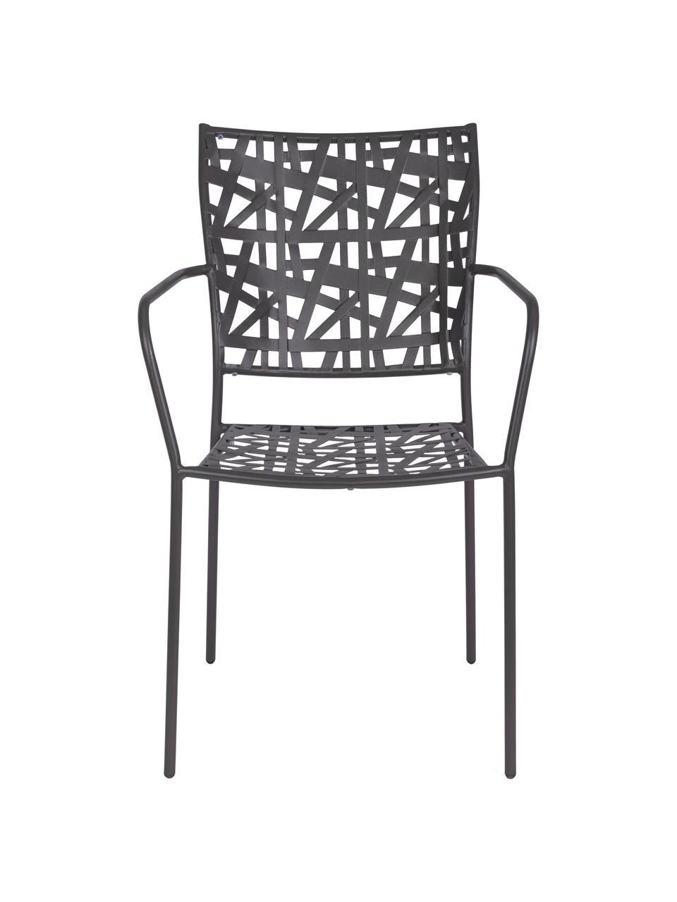 Krzesło ogrodowe z metalu Kelsie, Metal malowany proszkowo, Szary, S 55 x G 54 cm
